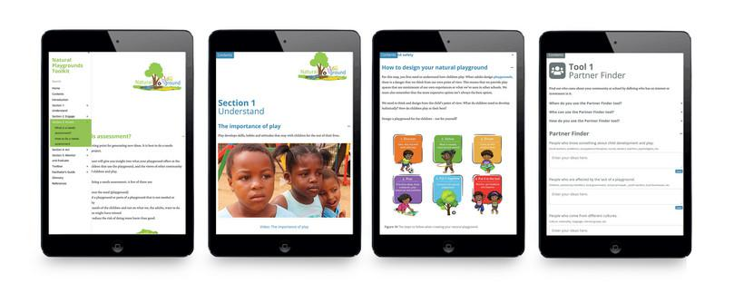 The Natural Playgrounds Toolkit on tablet