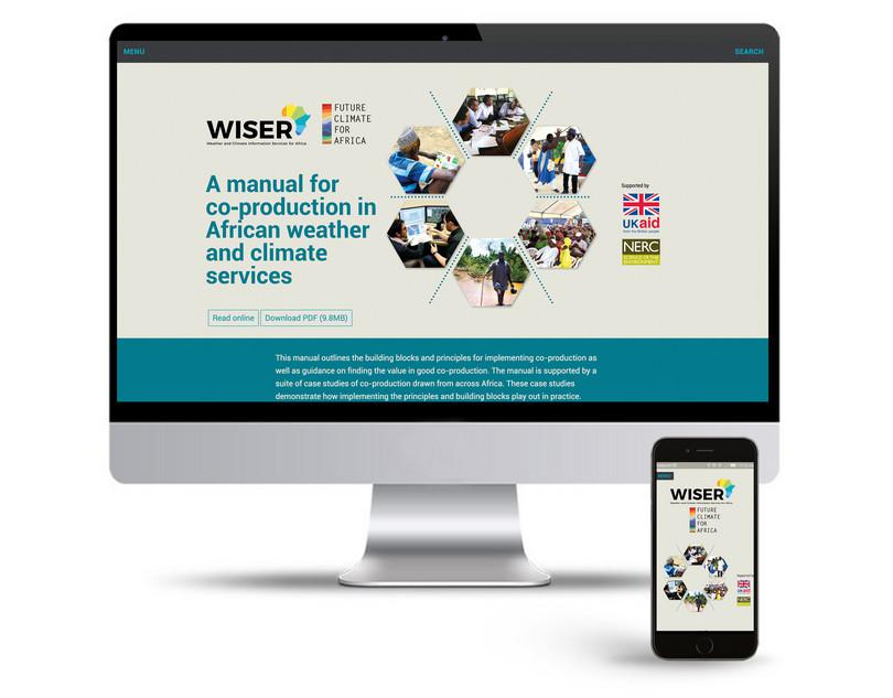 The website for A manual for co‑production in African weather and climate services on a large computer and a mobile phone